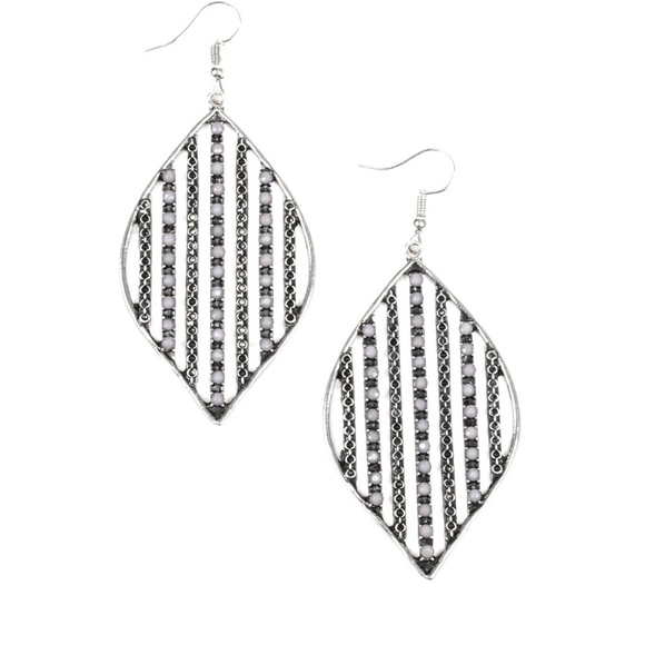 paparazzi Jewelry - Silver and gray  earrings